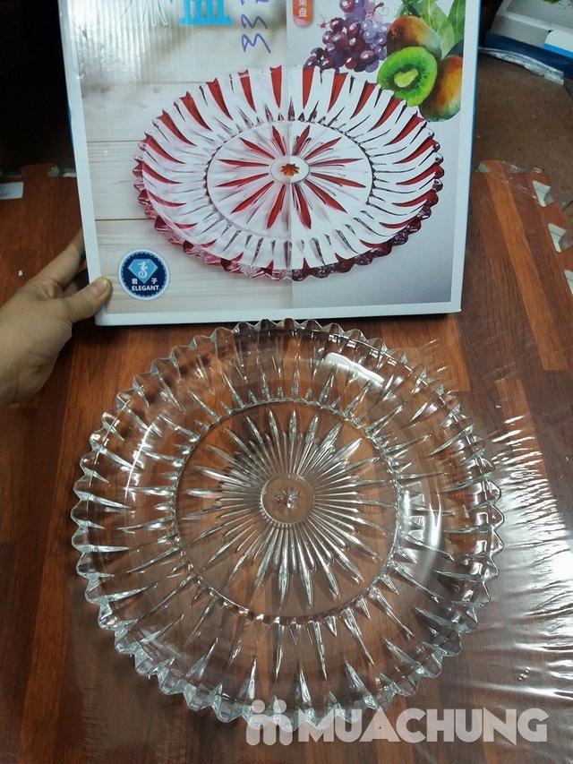 Đĩa thủy tinh tròn trắng sang trọng - 2