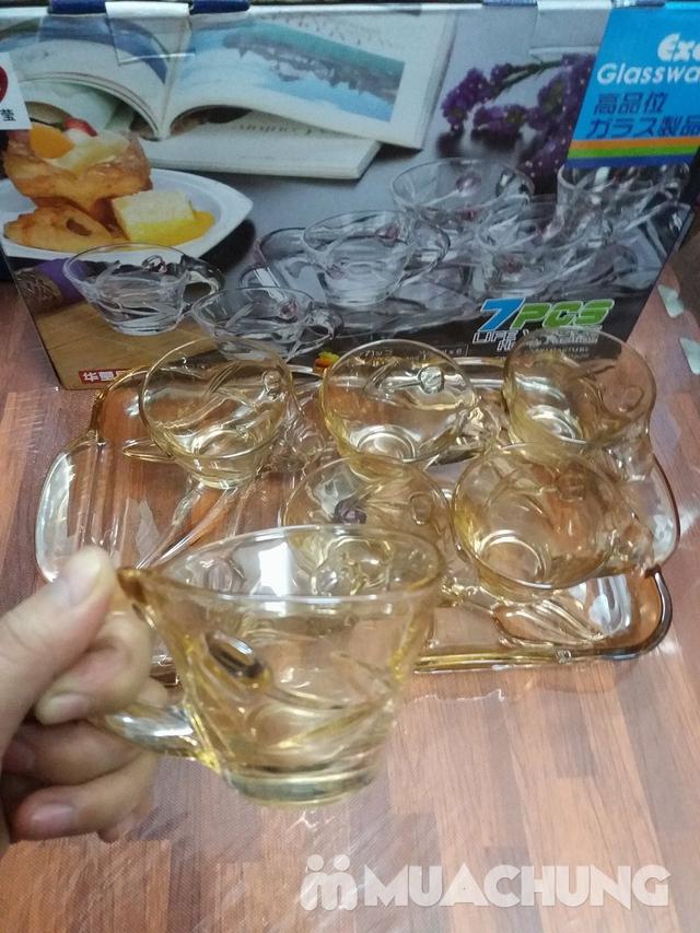 Bộ cốc cafe + khay thủy tinh vàng (nhiều kiểu) - 2
