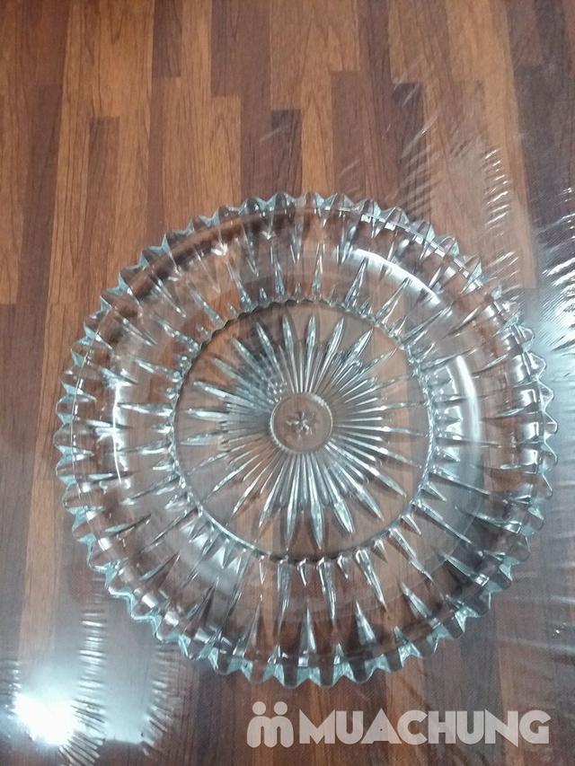 Đĩa thủy tinh tròn trắng sang trọng - 1