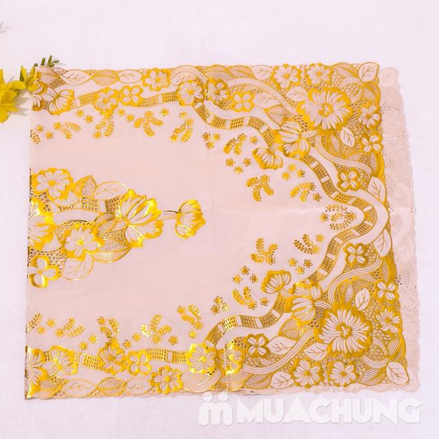 02 khăn trải bàn dập hoa nổi sang trọng loại vừa - 15