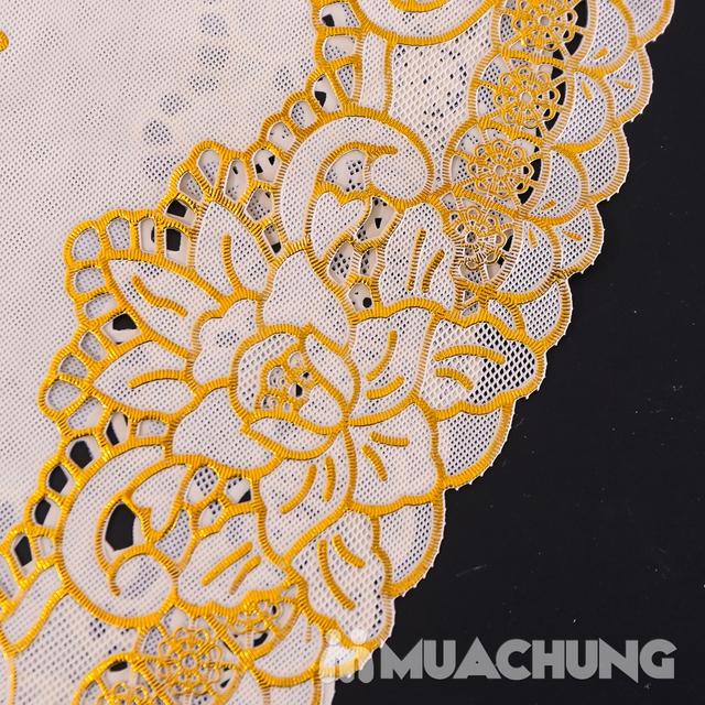 02 khăn trải bàn dập hoa nổi sang trọng (60x120cm) - 10