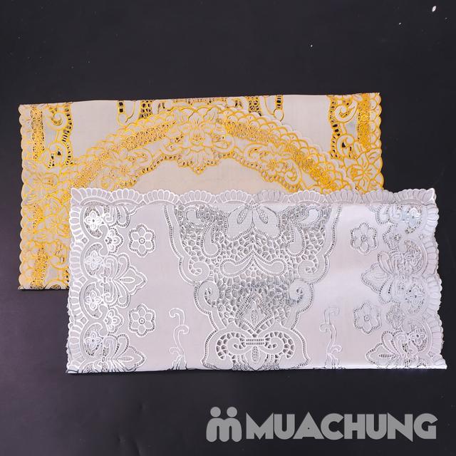 02 khăn trải bàn dập hoa nổi sang trọng (60x120cm) - 12