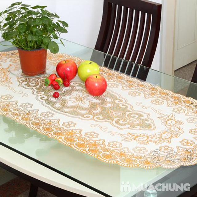 02 khăn trải bàn dập hoa nổi sang trọng (60x120cm) - 13