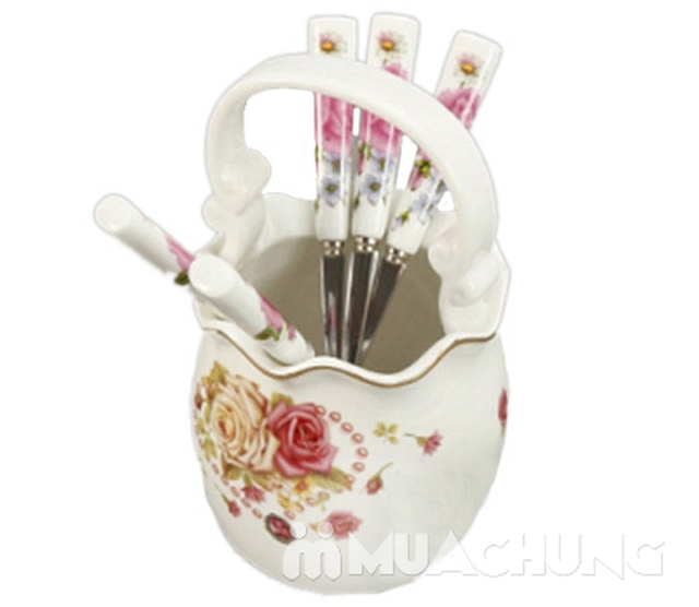02 ống cắm thìa dĩa hình giỏ hoa bằng sứ - 2