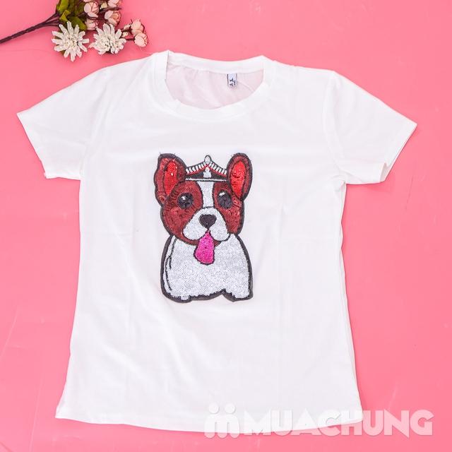 Áo phông cotton đính hình cún trẻ trung, xinh yêu  - 8