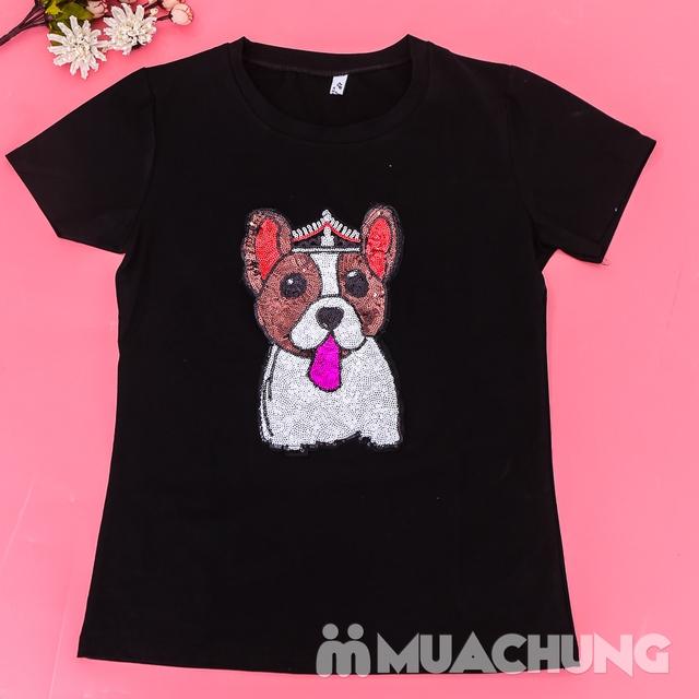 Áo phông cotton đính hình cún trẻ trung, xinh yêu  - 12