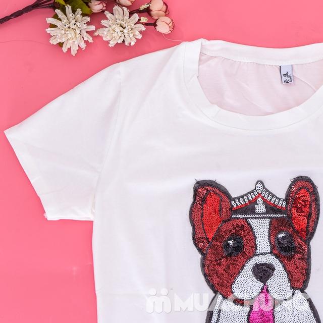 Áo phông cotton đính hình cún trẻ trung, xinh yêu  - 9