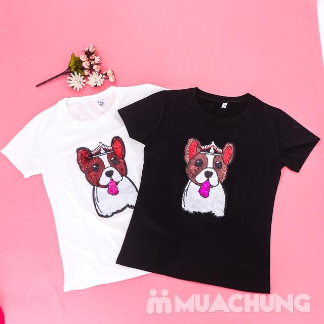 Áo phông cotton đính hình cún trẻ trung, xinh yêu  - 11
