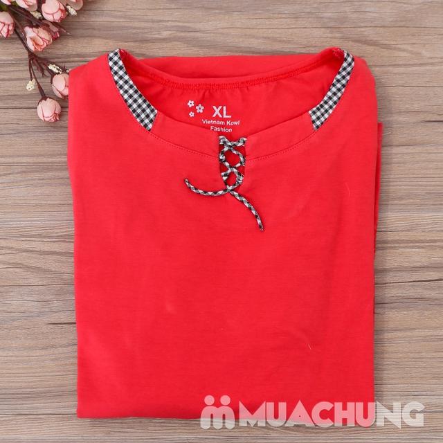 Bộ mặc nhà cotton dây buộc cổ áo nhiều màu-hàng VN - 13