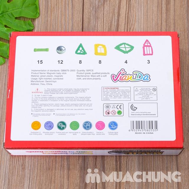 Bồ đồ chơi nam châm lắp ghép 50 chi tiết cho bé - 8