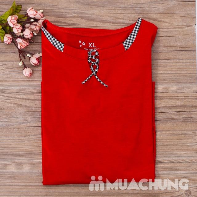 Bộ mặc nhà cotton dây buộc cổ áo nhiều màu-hàng VN - 10