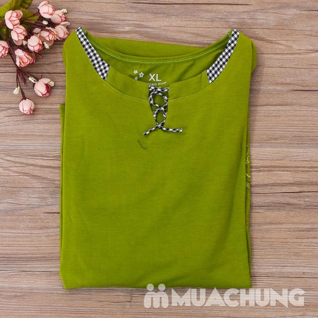 Bộ mặc nhà cotton dây buộc cổ áo nhiều màu-hàng VN - 14
