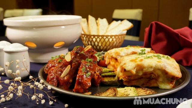 Combo chuẩn Âu: Sườn heo nướng sốt BBQ + Lasagne mỳ ống bò băm + Lẩu cheese Thụy Sĩ - View Hồ Gươm - 8