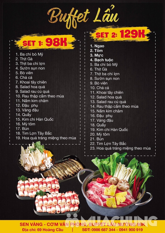 Buffet lẩu hoặc nướng Menu 129K siêu hấp dẫn + free coca tại NH Sen Vàng - 25