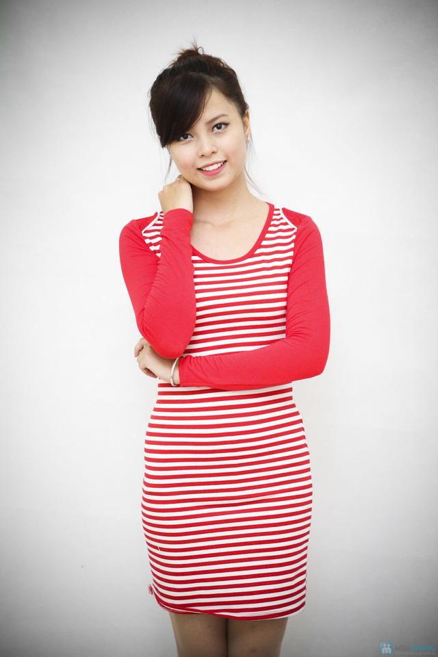 Váy kẻ ngang dài tay cho bạn gái vẻ đẹp trẻ trung, cá tính - Chỉ với 95.000đ - 6