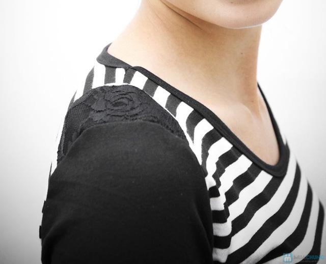 Váy kẻ ngang dài tay cho bạn gái vẻ đẹp trẻ trung, cá tính - Chỉ với 95.000đ - 5