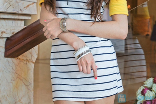 Trẻ trung trong phong cách năng động với váy thun suôn sọc ngang xinh xắn - Chỉ 85.000đ/01 chiếc - 1