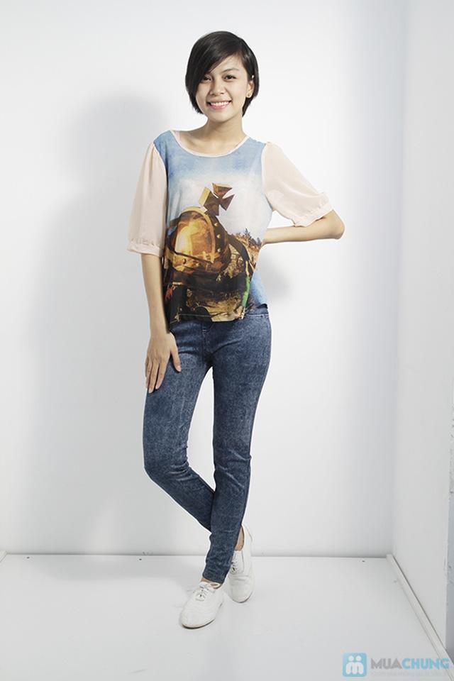 Quần legging dài giả jean cực chất - Bạn gái sành điệu và cá tính - Chỉ 75.000đ/01 chiếc - 1