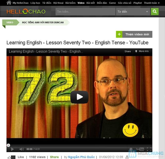 Thẻ học tiếng Anh trực tuyến HelloChao.vn cho 360 ngày,  tặng thêm 01 thẻ học 180 ngày - Chỉ 100.000đ - 7