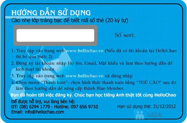 Thẻ học tiếng Anh trực tuyến HelloChao.vn cho 360 ngày,  tặng thêm 01 thẻ học 180 ngày - Chỉ 100.000đ - 12