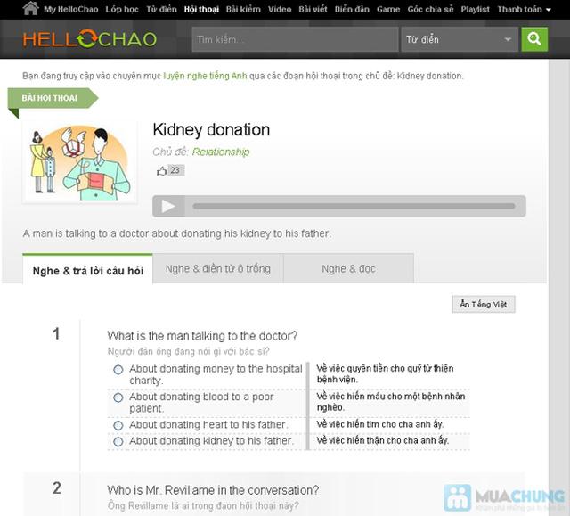 Thẻ học tiếng Anh trực tuyến HelloChao.vn cho 360 ngày,  tặng thêm 01 thẻ học 180 ngày - Chỉ 100.000đ - 4