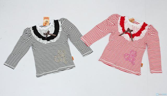 Combo 2 áo cotton bé gái kẻ ngang, cổ ren bèo - 1