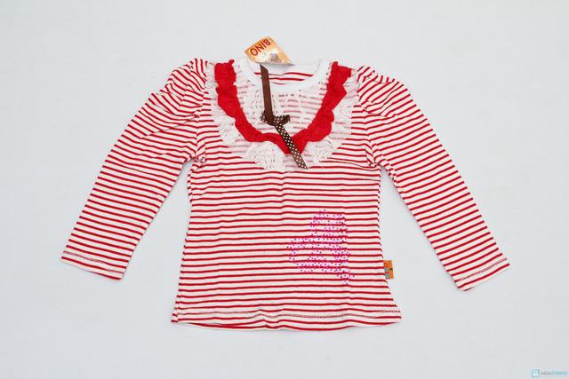 Combo 2 áo cotton bé gái kẻ ngang, cổ ren bèo - 3