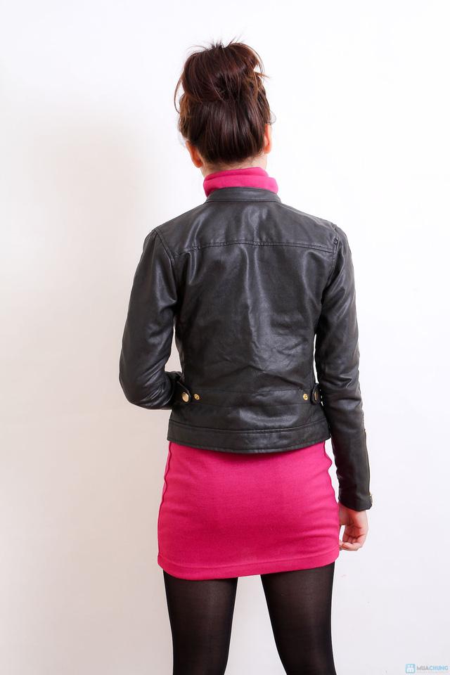 Áo khoác da nữ dáng body ngắn thời trang - 8