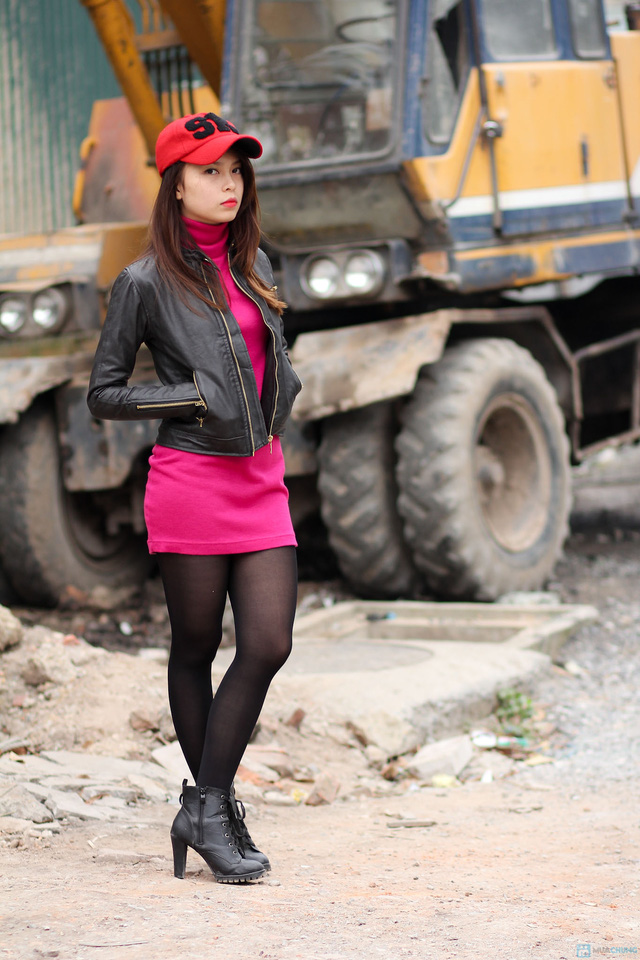 Áo khoác da nữ dáng body ngắn thời trang - 1