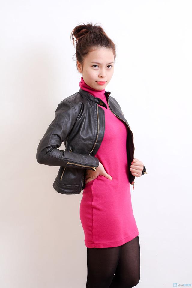 Áo khoác da nữ dáng body ngắn thời trang - 7