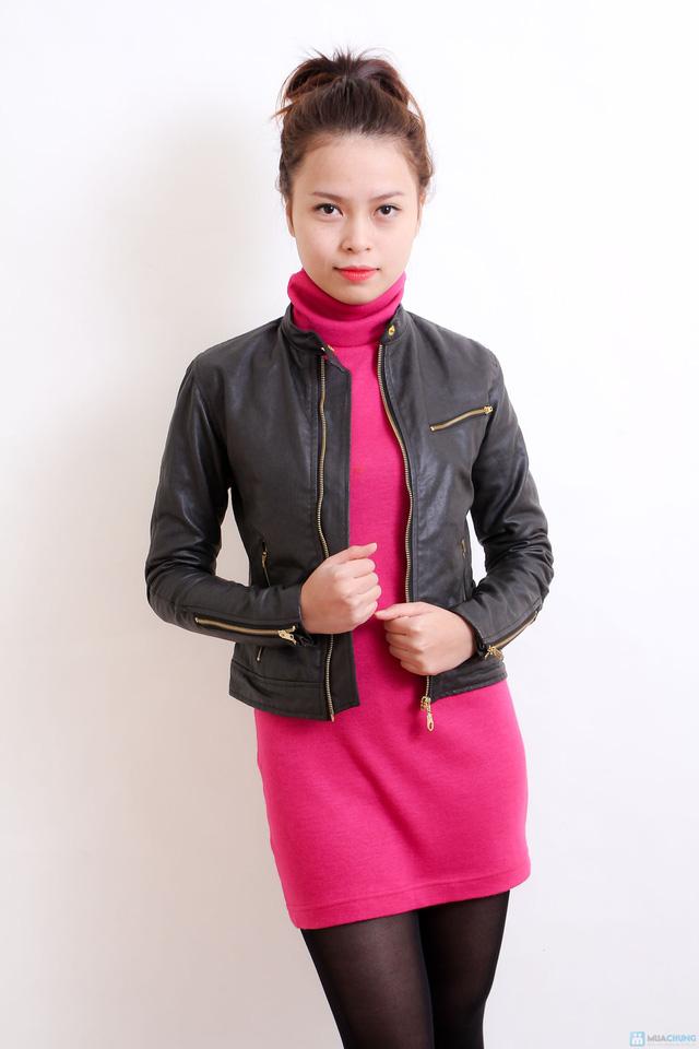 Áo khoác da nữ dáng body ngắn thời trang - 6