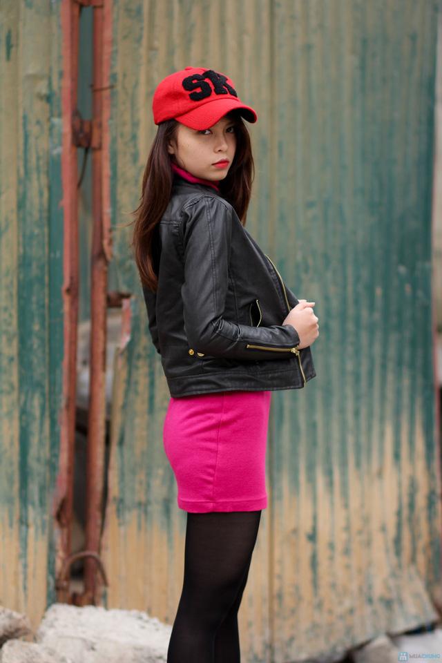Áo khoác da nữ dáng body ngắn thời trang - 4