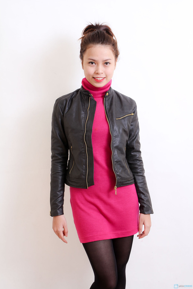 Áo khoác da nữ dáng body ngắn thời trang - 9