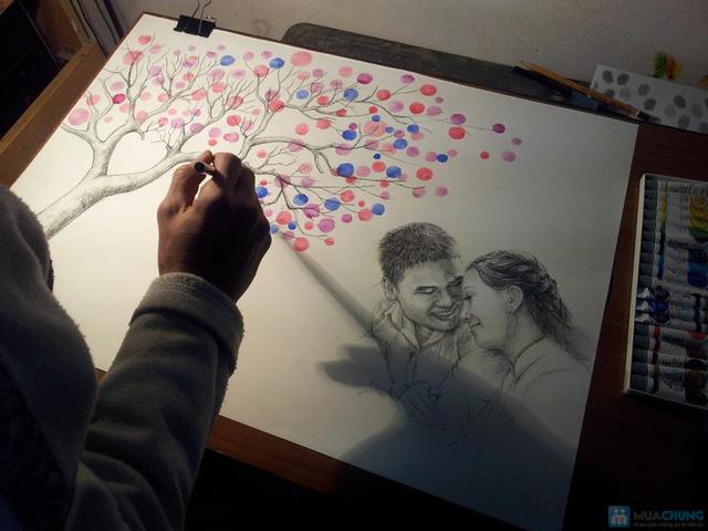 Voucher đặt bộ Khung tranh wedding tree in dấu vân tay hoặc chữ ký - 12