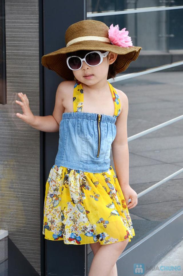 Váy denim pha lanh cho bé gái - 1