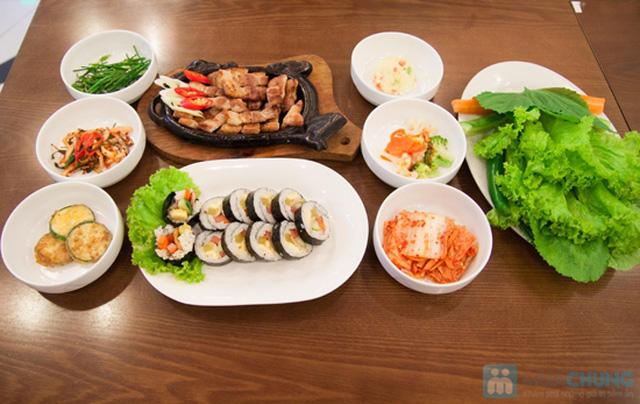 Set ăn: thịt ba chỉ nướng + kim bắp + 6 món phụ cho 2 người tại nhà hàng Sườn Nướng Hàn Quốc - Chỉ 138.000đ - 1
