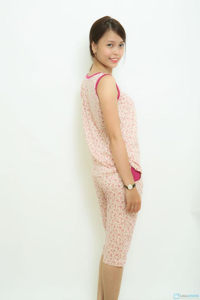 Bộ mặc nhà thun cotton ko tay hoa nhí Vintage - 4