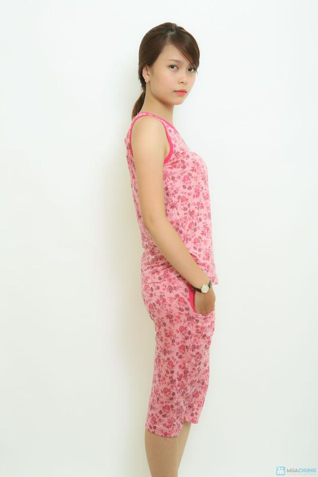 Bộ mặc nhà thun cotton ko tay hoa nhí Vintage - 1