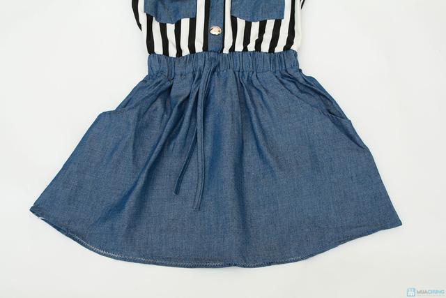 váy thu denim cách điệu cho bé gái - 3
