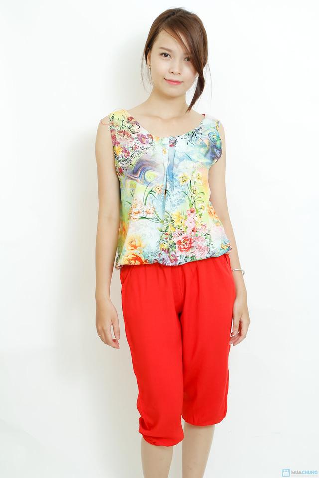Bộ quần áo lanh 3D sát nách kiểu dáng Alibaba - 5