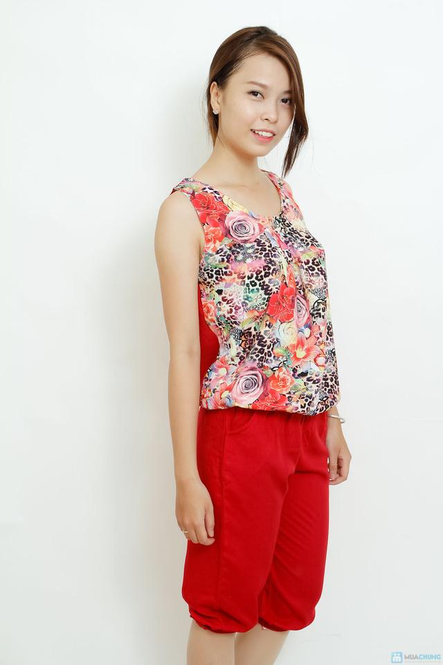 Bộ quần áo lanh 3D sát nách kiểu dáng Alibaba - 8