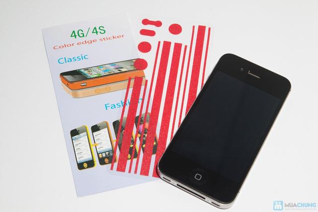Combo miếng dán màn hình vân 3D + bộ viền iPhone 4/4S - 3