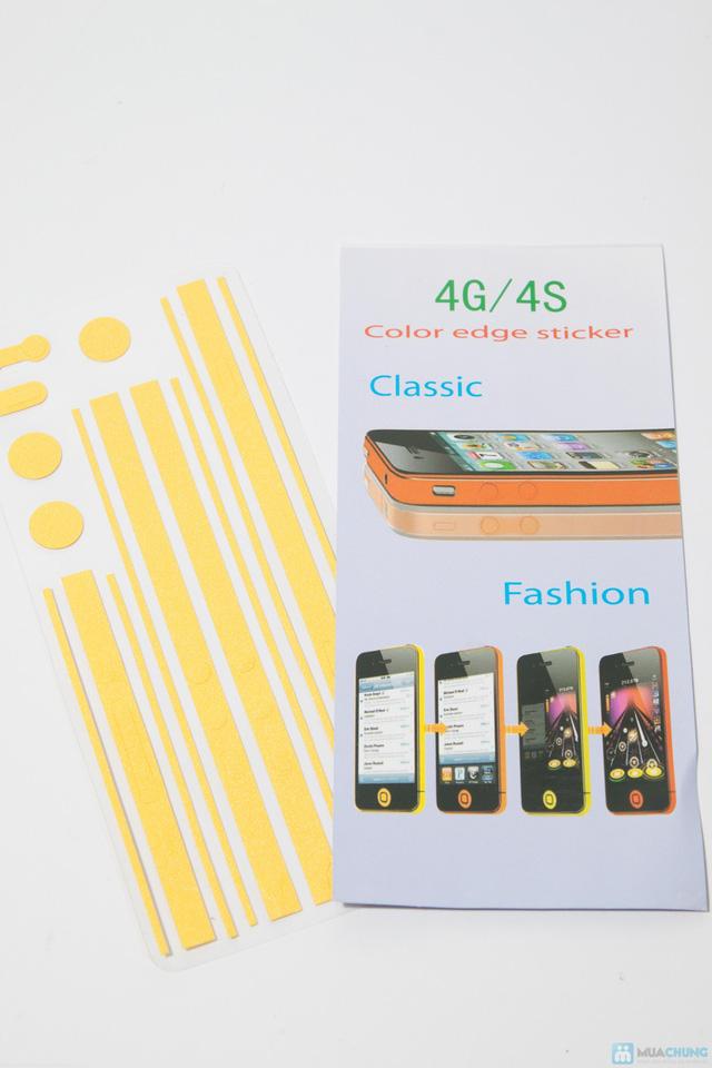 Combo miếng dán màn hình vân 3D + bộ viền iPhone 4/4S - 2