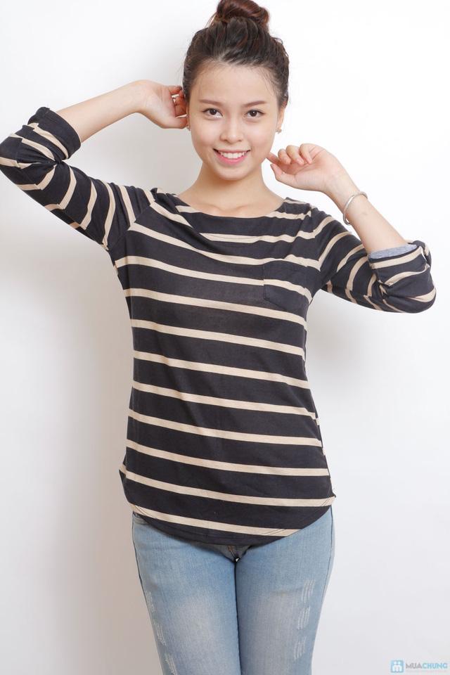 Áo thun cotton kẻ ngang dài tay - 1
