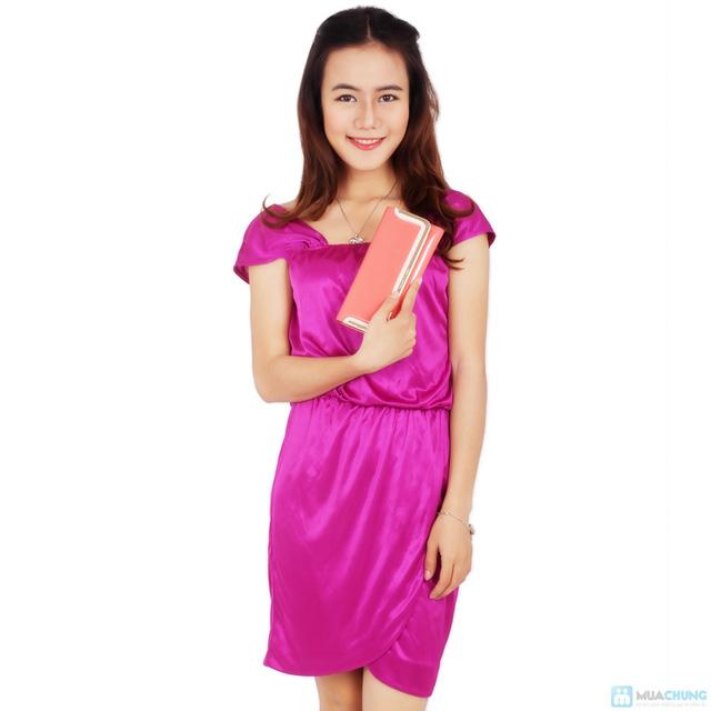 Đầm tím phi bóng eo bo thun - 4