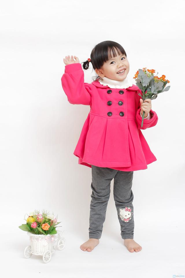 Áo khoác dạ 2 lớp dáng hàn quốc cho bé gái - 1
