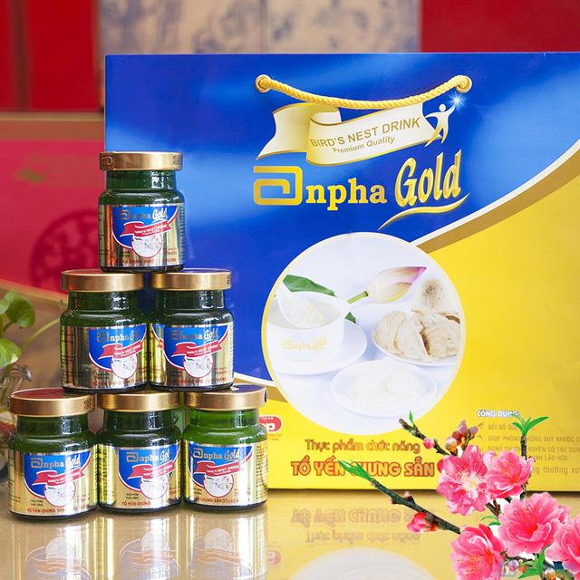 1 hộp yến sào Anpha nhân sâm Gold + 1 hộp Anpha Gold đường - 6