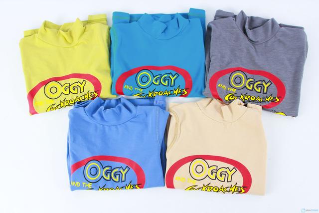 Combo 2 áo cotton cổ lọ mèo Oggy cho bé trai - 1