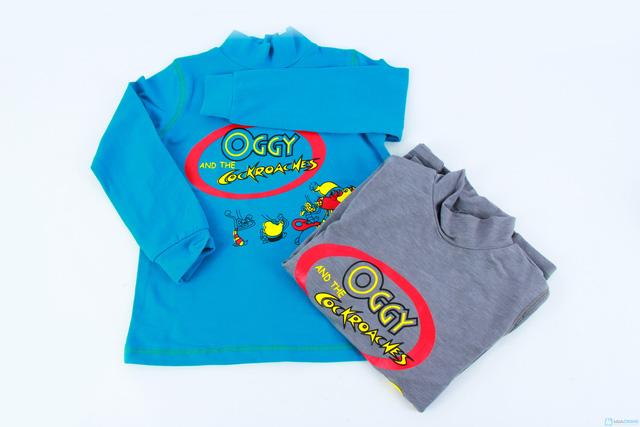 Combo 2 áo cotton cổ lọ mèo Oggy cho bé trai - 8