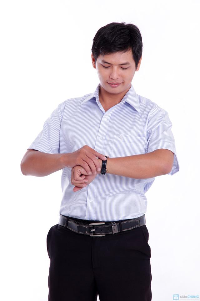 Áo sơ mi nam cao cấp xuất khẩu Michio tay ngắn sọc xanh trắng - 4